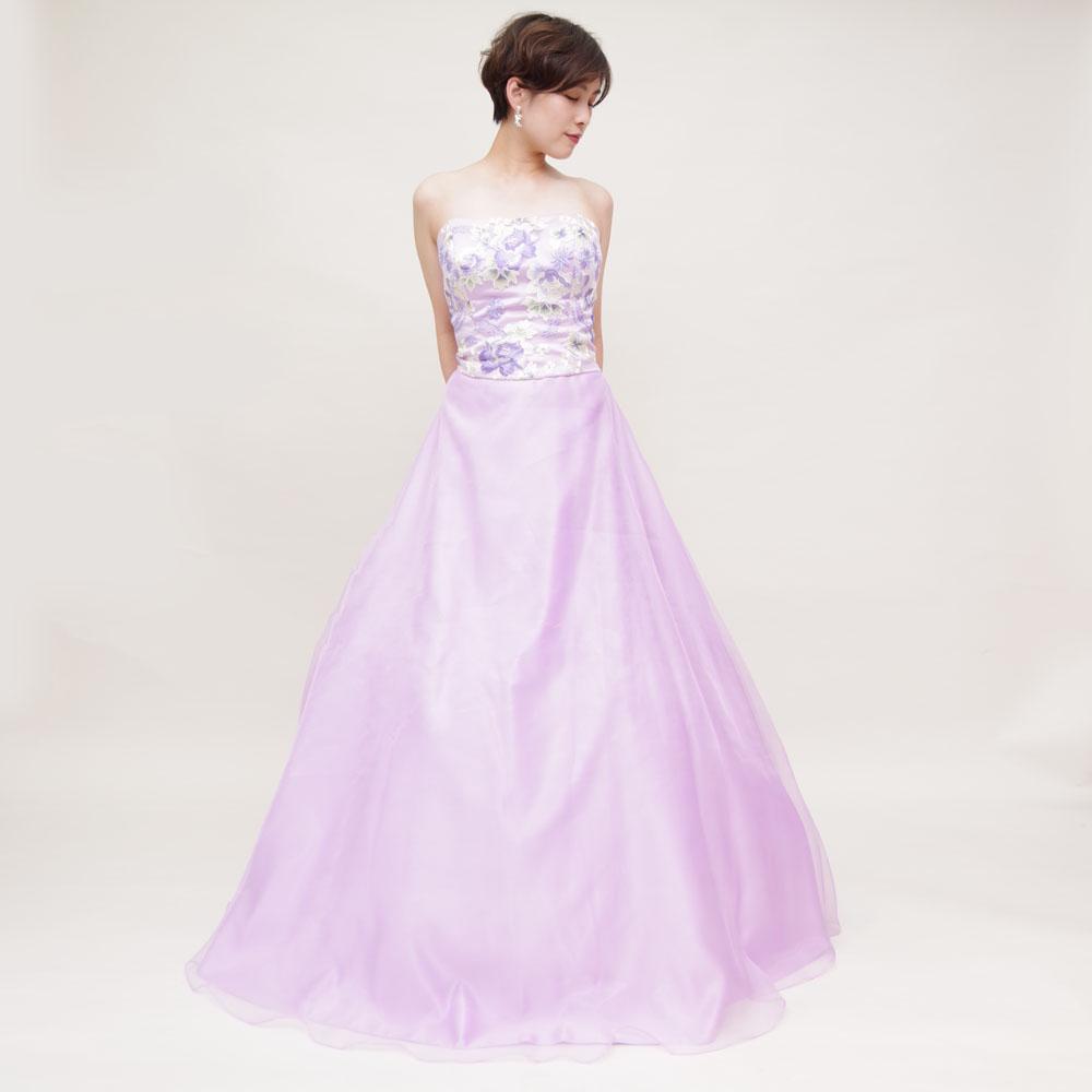 淡いラベンダーカラーが爽やかで清楚なふんわりオーガンジードレス