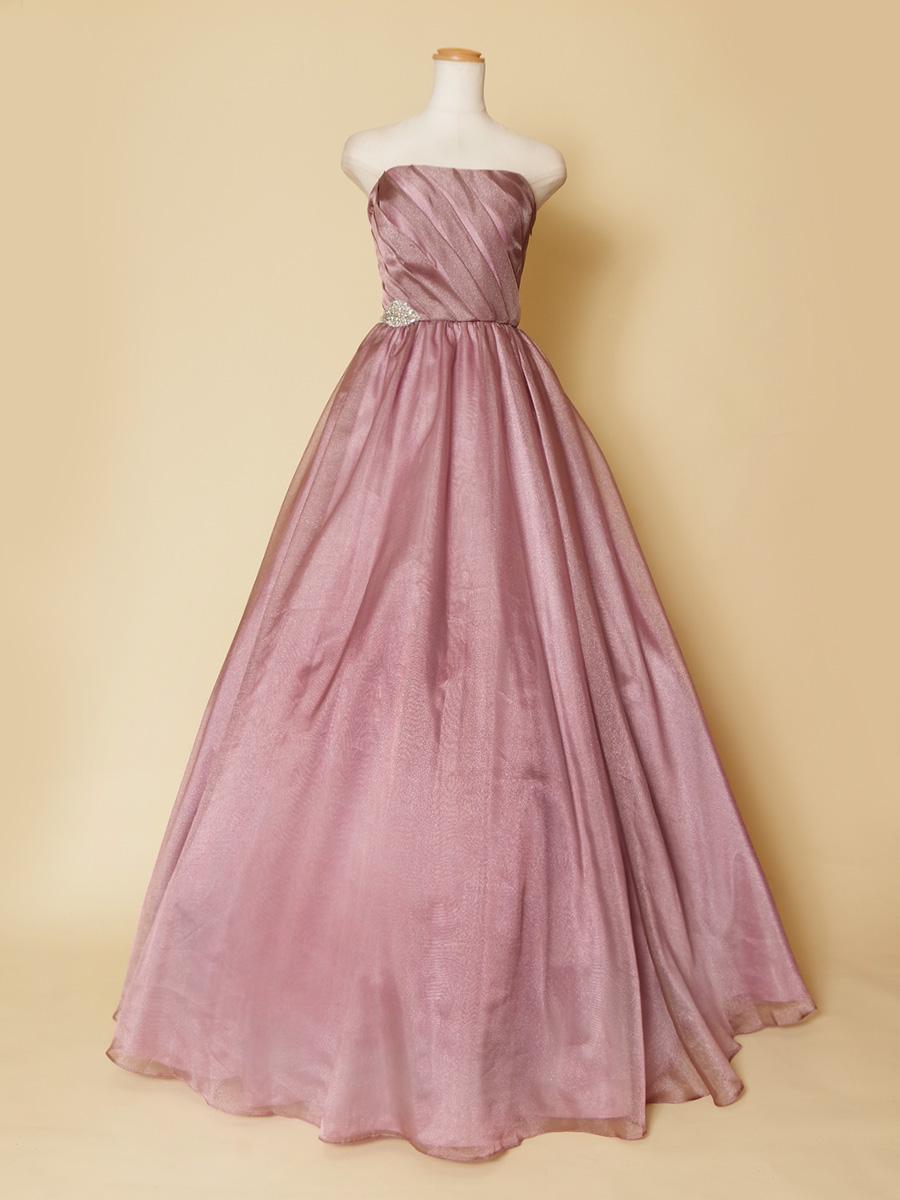 ダスティーパープルピンクのオシャレでキュートなボリューム演奏会ドレス