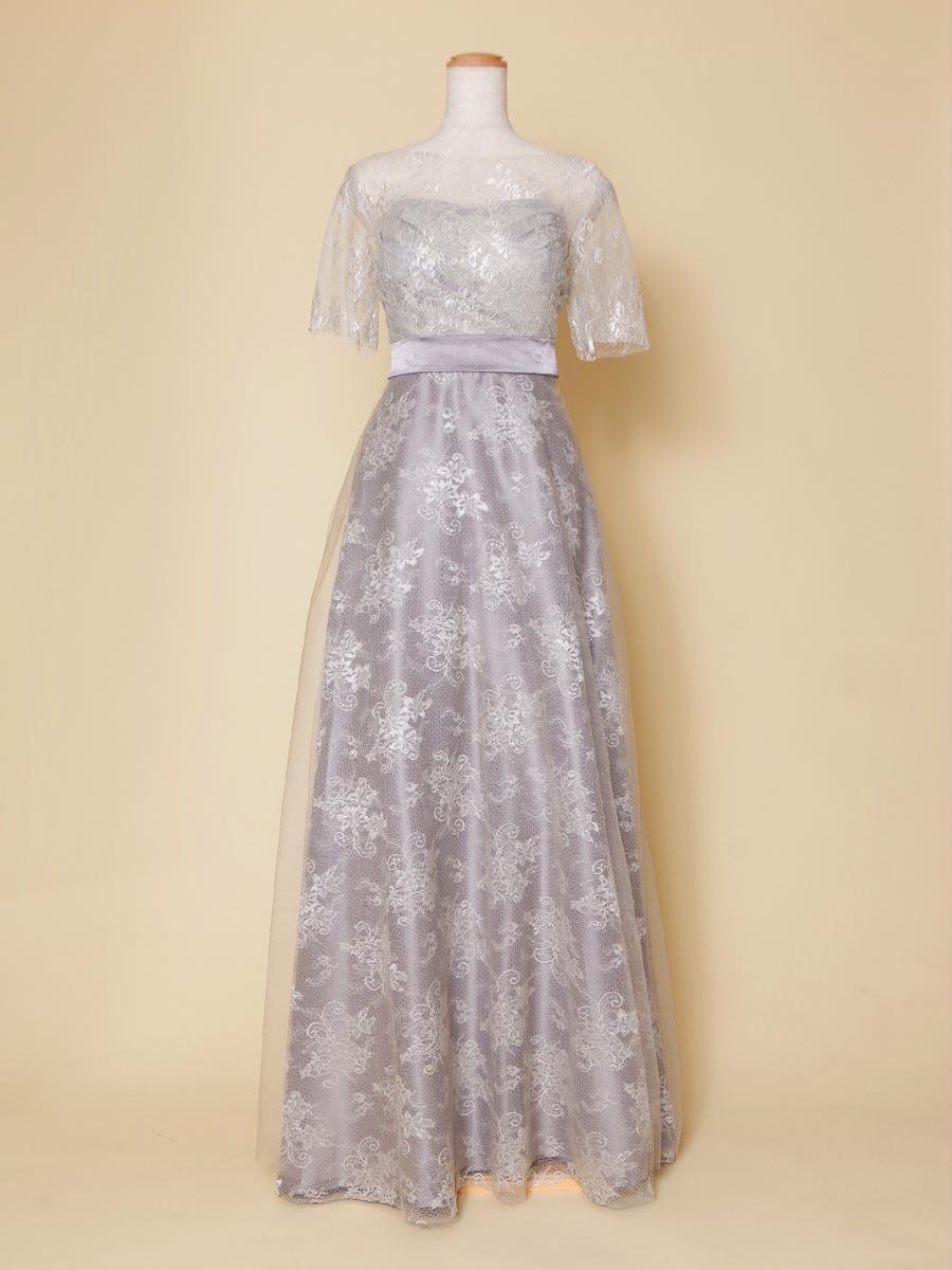 シルバーカラーの幅広い年代に着こなしやすい袖付き演奏会ドレス