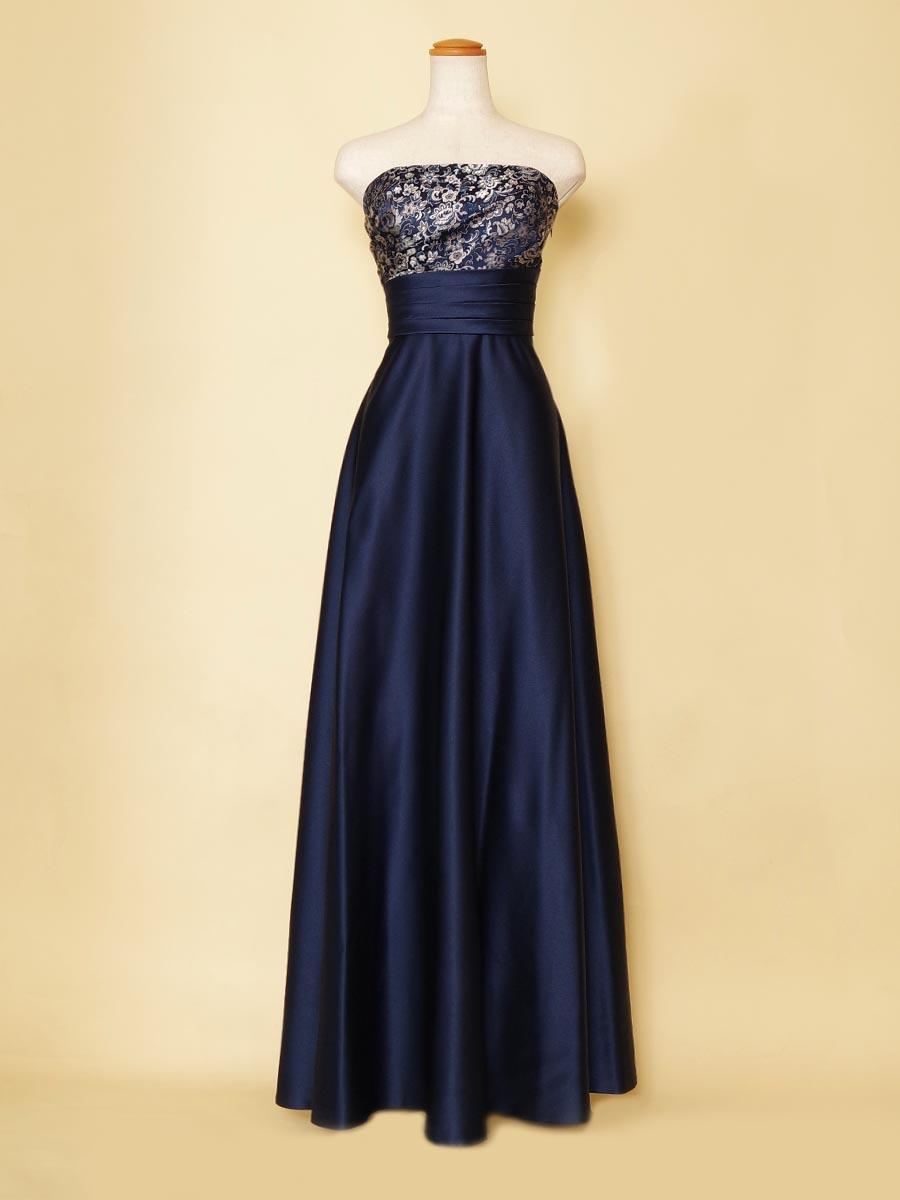 胸元ジャガード刺繍の深みのあるネイビーカラー演奏会ロングドレス