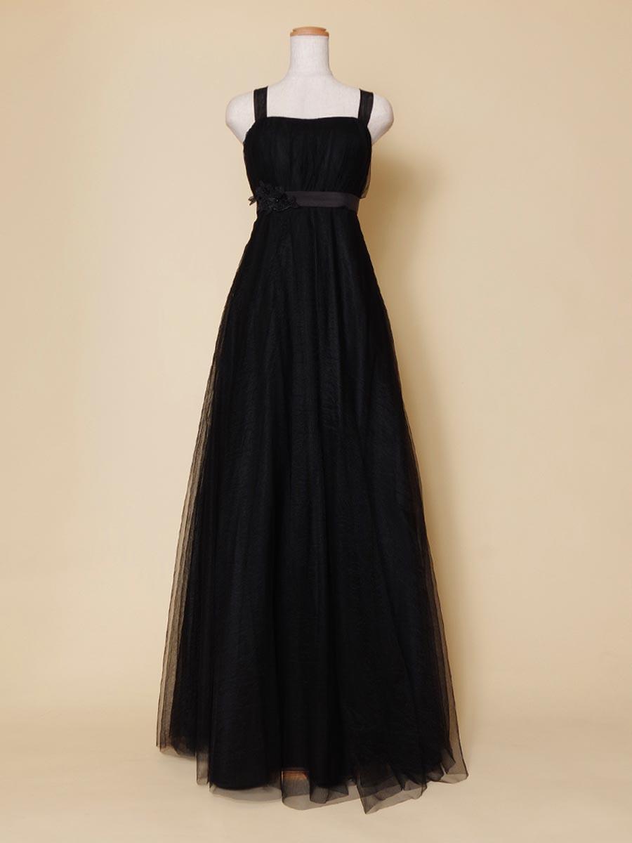 ブラックウェストリボンのオーケストラのステージ衣装に最適な演奏会ドレス