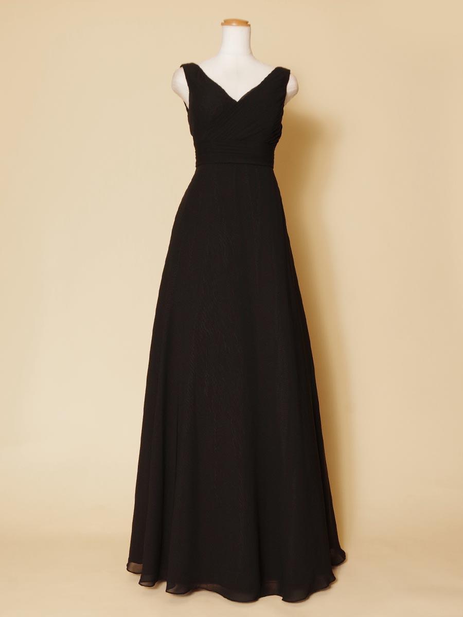 Vネックのブラック袖付きデザインの演奏会ロングドレス
