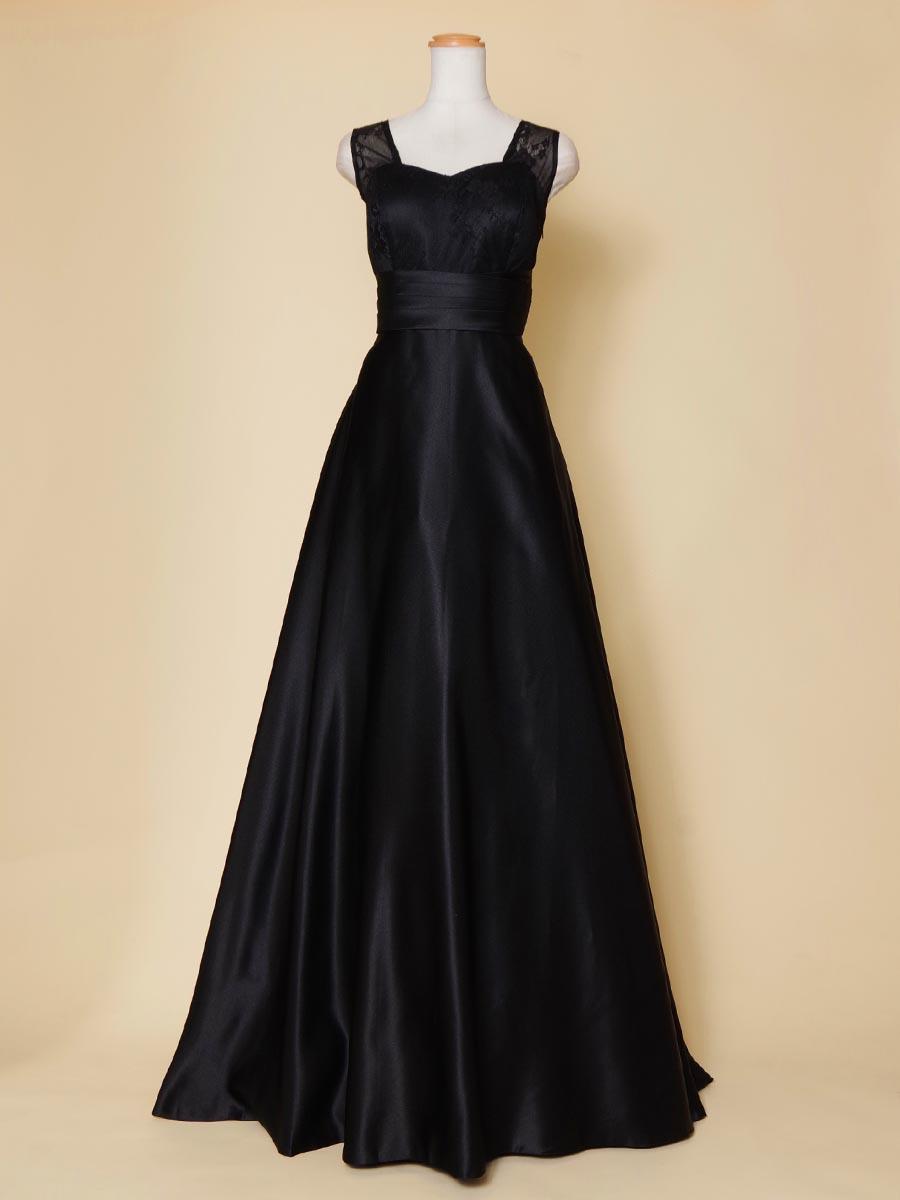 エンパイアラインのレーストップが大人っぽい袖付ブラックカラー演奏会ドレス