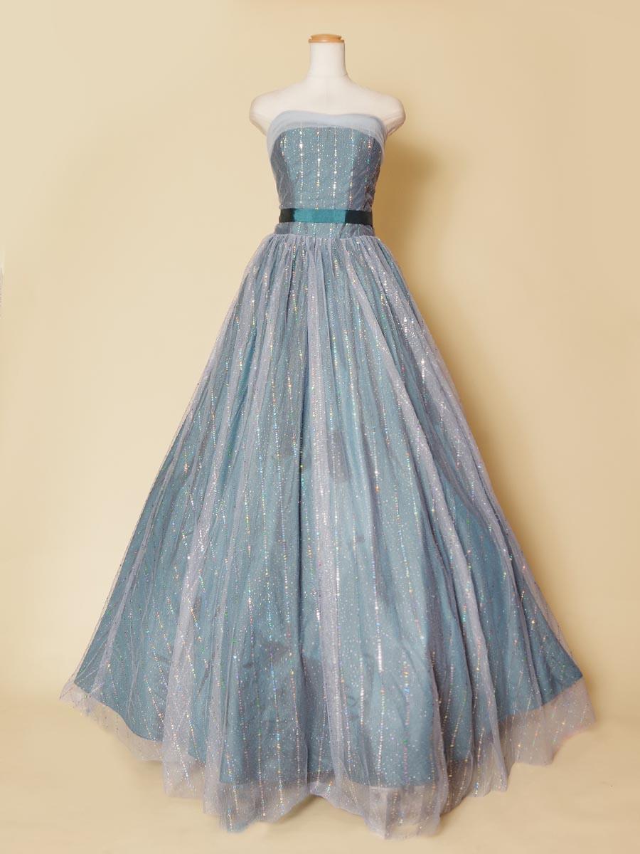 ネオンのようなキラキラライングリッターがステージ栄え間違えなしのグリーン×ブルーのカラードレス