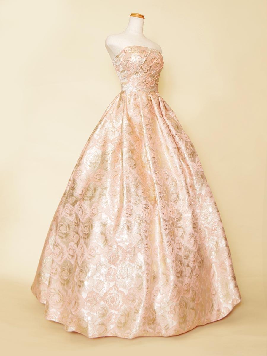 キャンディーのようなジャガードピンクの色合いがゴージャスで可愛いボリュームステージドレス