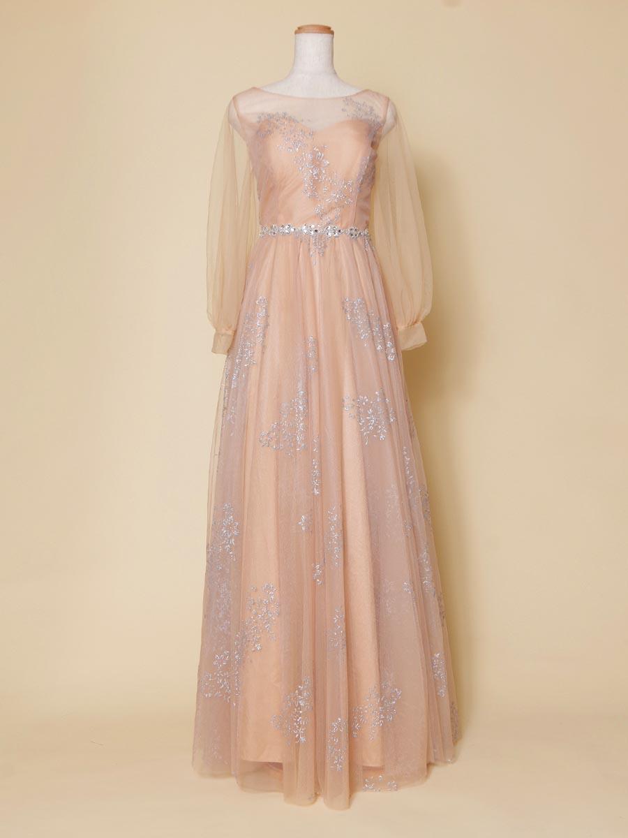 長袖チュールが優しくトップを包み込むオレンジベージュのロングドレス