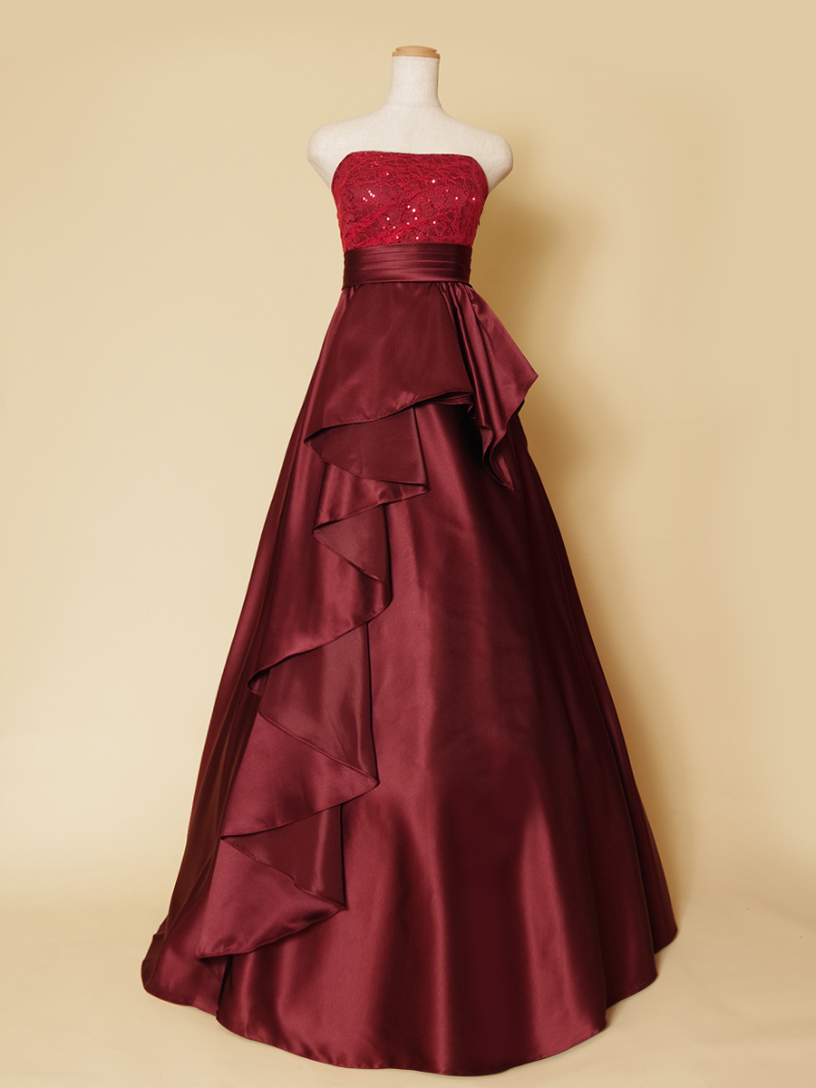 斜めドレープがエレガントなステージ映えするワインレッドのゴージャスロングドレス
