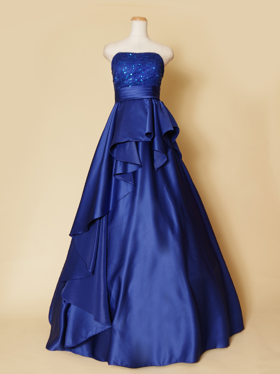 ロイヤルブルーが涼しげな気品を放つ斜めドレープのステージ向けロングドレス