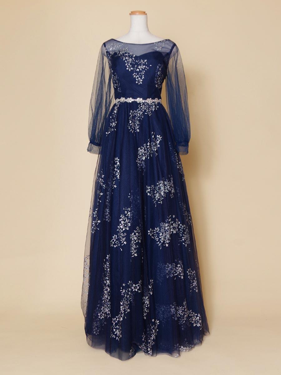 長袖タイプのネイビーカラーが落ち着きのあるコンサートに最適な演奏会向けカラードレス