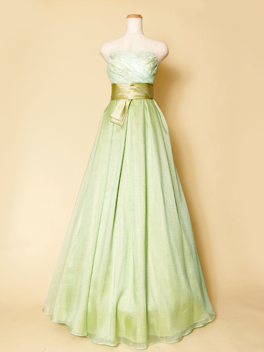 サッパリしたミントグリーンの色合いが爽やかなウエストリボンデザインのステージカラードレス