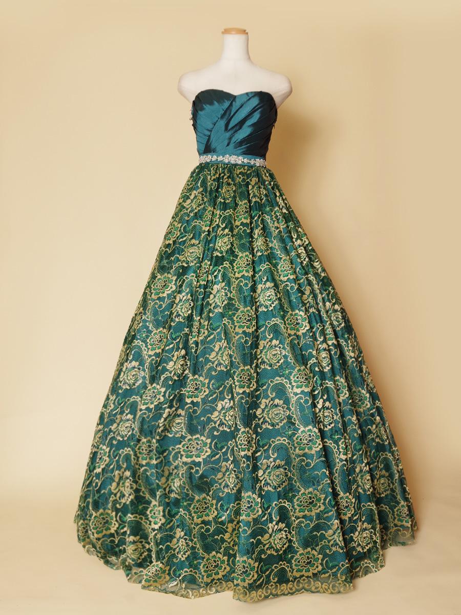 豪華な花柄レースのスカート生地がインパクト抜群!エメラルドグリーンボリュームドレス