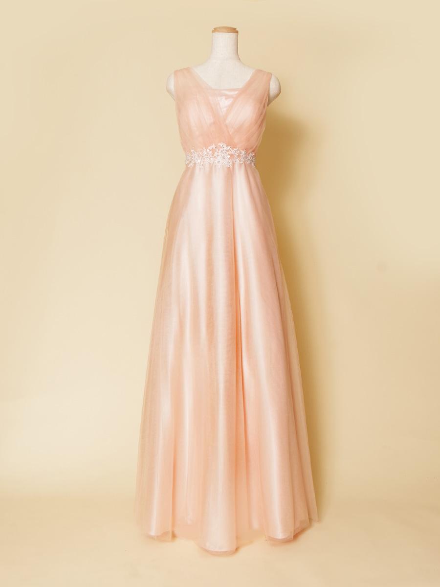パステルピンクカラーがふんわり可愛い肩つきチュールスレンダードレス