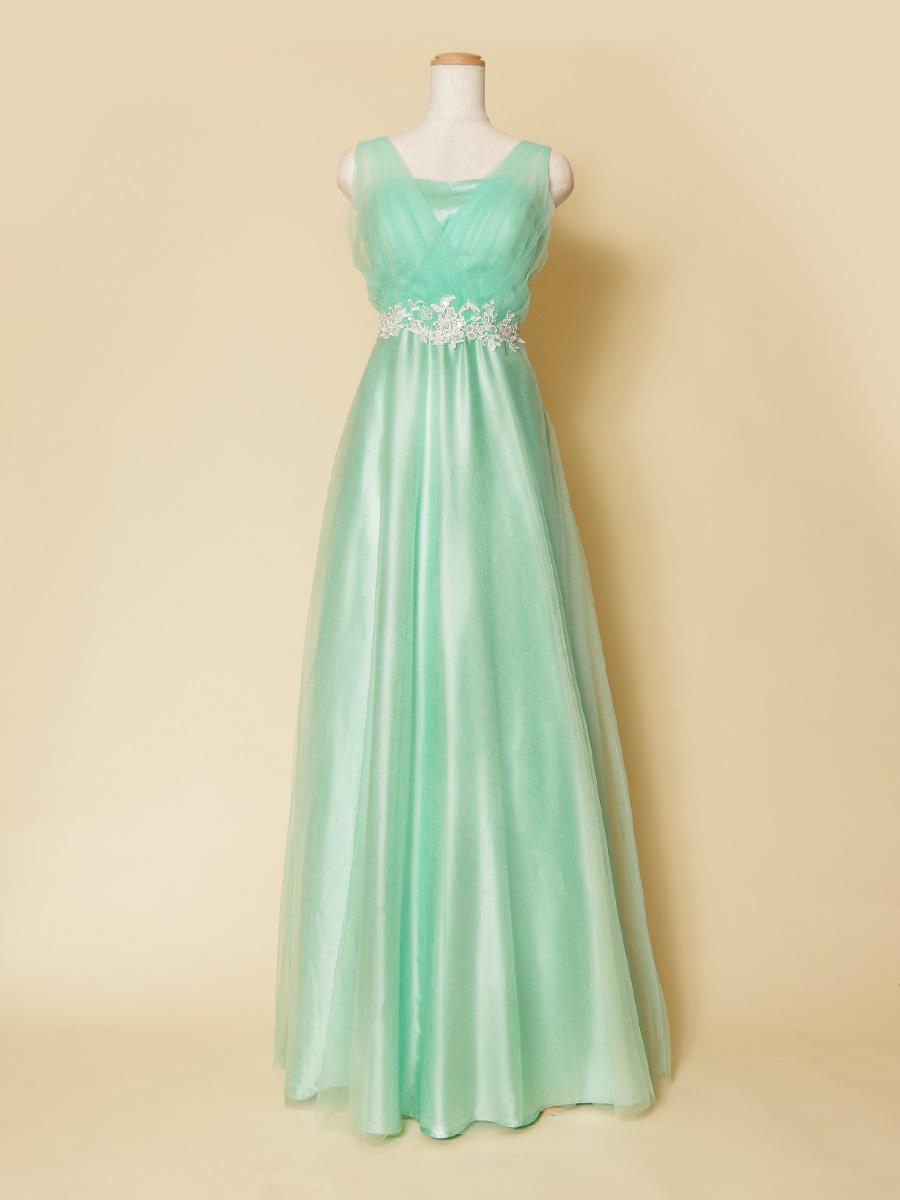 幅広い年代の方に着こなしやすい!清涼感を感じさせるミントグリーンの肩袖演奏会ロングドレス