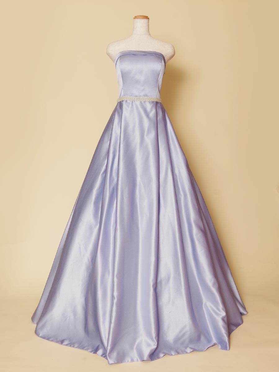 淡いラベンダーパープルの色合いが爽やかなボックスプリーツデザインのステージロングドレス
