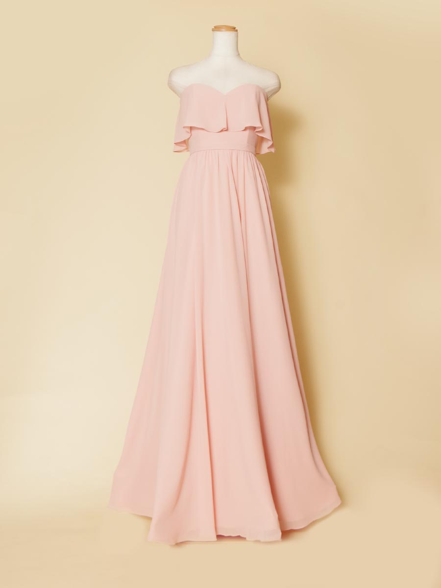 エンパイアラインのふんわりシフォン素材を使用した胸元ドレープデザインのピンクロングドレス