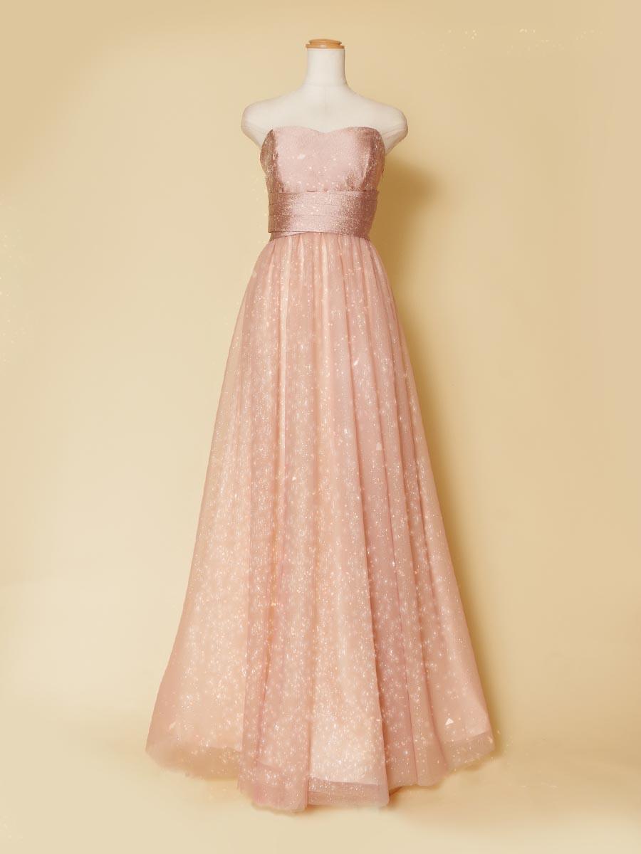 ダスティローズピンクカラーのキラキラの輝きをスカートに持たせた大人可愛いロングドレス