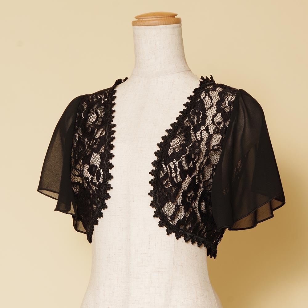 センターレース×袖シフォンのふんわり感とクラシカルなデザインを合わせたブラックボレロ