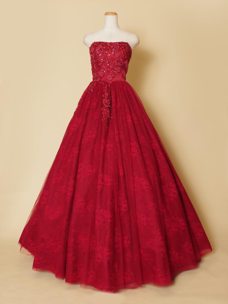 ゴージャスなボルドーワインレッドカラーのビーズ刺繍が美しいステージロングドレス