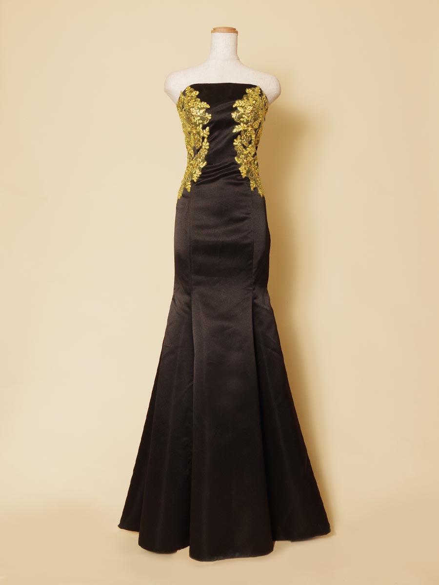 ゴールドスパンコールをドレスのトップ両サイドに施したステージ向けブラックマーメイドラインドレス