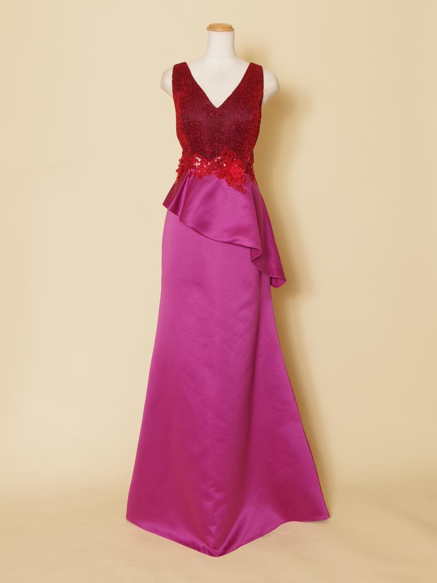 肩袖付きデザインのレッドカラーとディープピンクを組み合わせたタイトなヒップデザインロングドレス