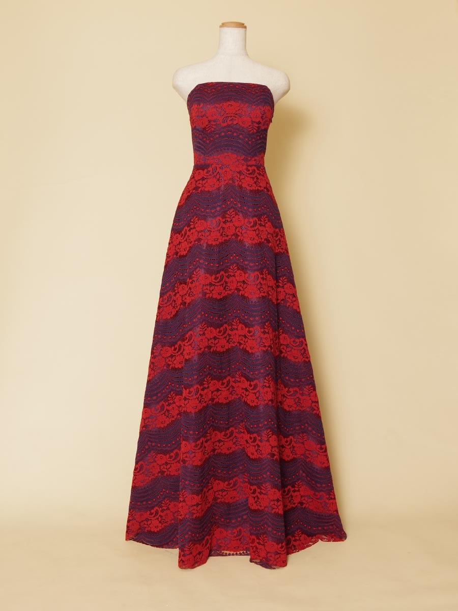 ネイビー&レッドを組み合わせたデザインボーダーレースのスレンダーロングドレス