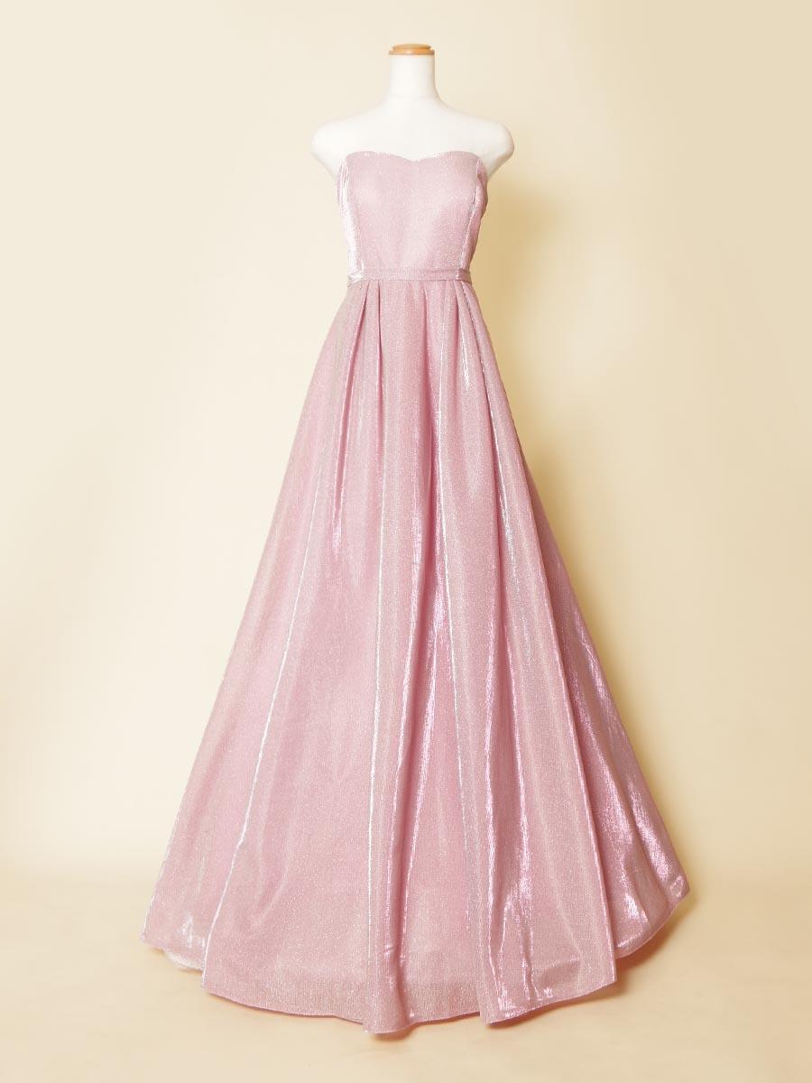 大人可愛いメタリックスモーキーピンクカラーロングドレス