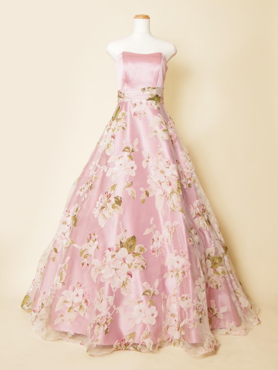 パステルピンクのお花畑のようなプリントボリュームロングドレス