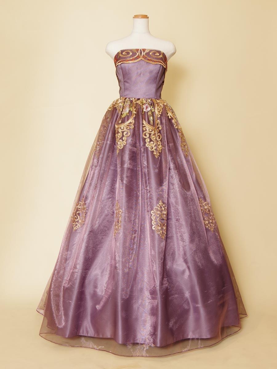 アラビアン風なデザインをイメージしてデザインしたパープル×ゴールドのオーガンジードレス
