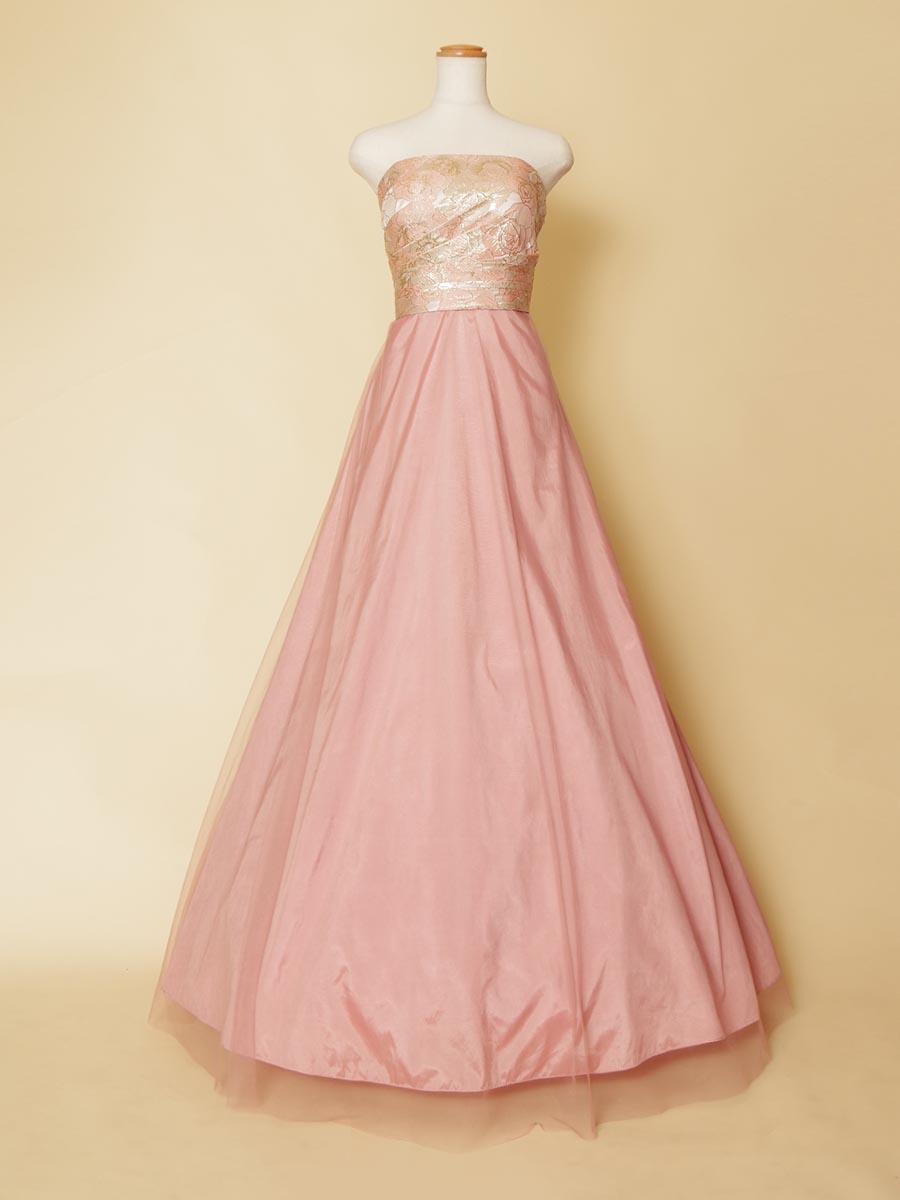 全体的にシンプルに仕上げた胸元ジャガードピンクのスカートシフォン演奏会ロングドレス