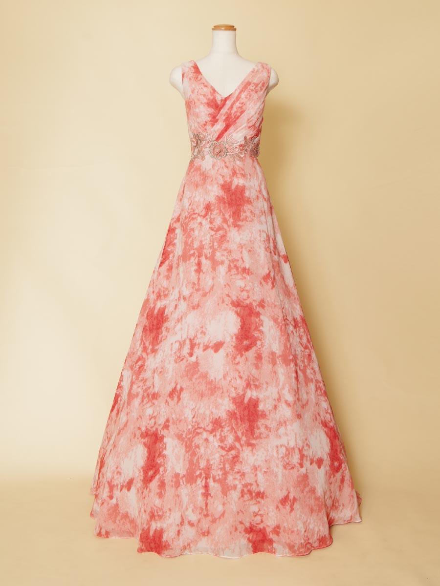 肩付きデザインのグランジデザインのプリント生地が美しいステージドレス