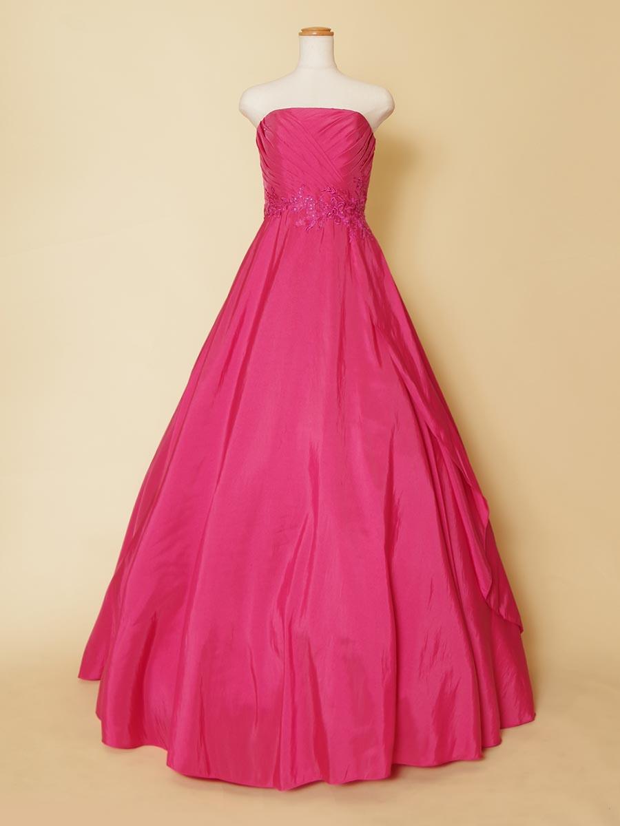 アシンメトリー斜めカットデザインのビビットピンクカラーのステージドレス