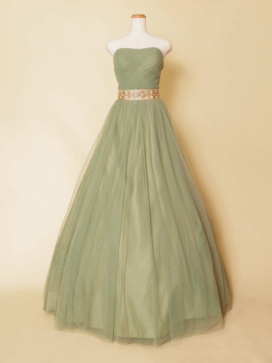 抹茶ラテのようなふわふわした雰囲気がおしゃれなクラシカルウエストデザインベルトを採用したロングドレス