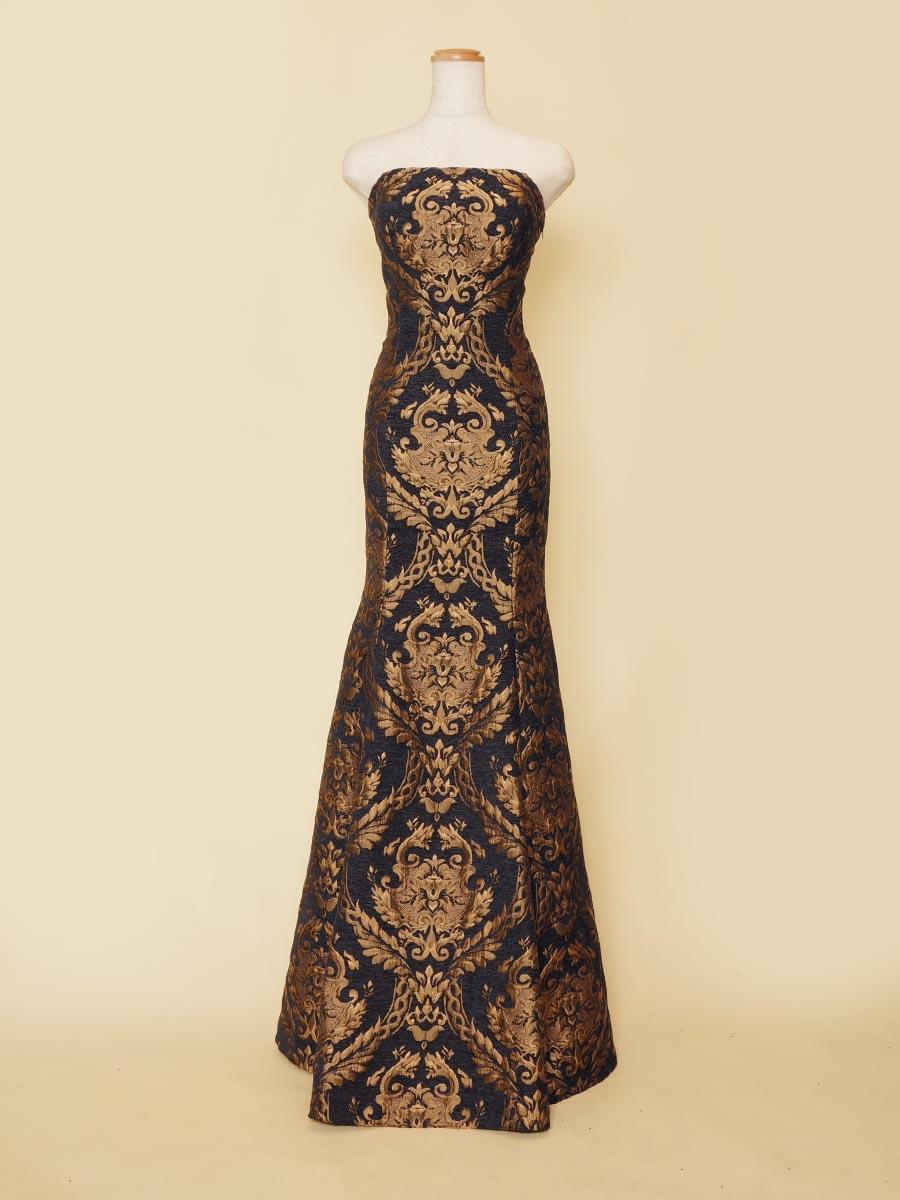 スタイルを美しく魅せてカッコよく魅せるジャガード生地のブラックネイビー×ブラックカラーのマーメイドラインドレス