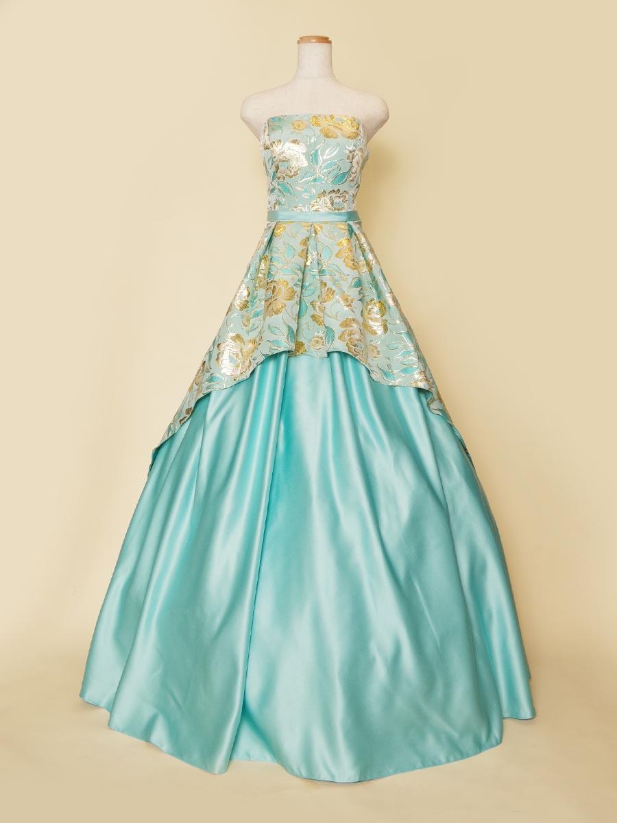 センターカットデザインのスカイブルーとゴールドが爽やかなジャガードステージドレス