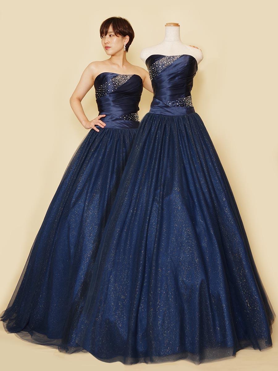 腰回りをスタイリッシュに綺麗に魅せる!幻想的で華やかなローウエストグリッター演奏会ドレス