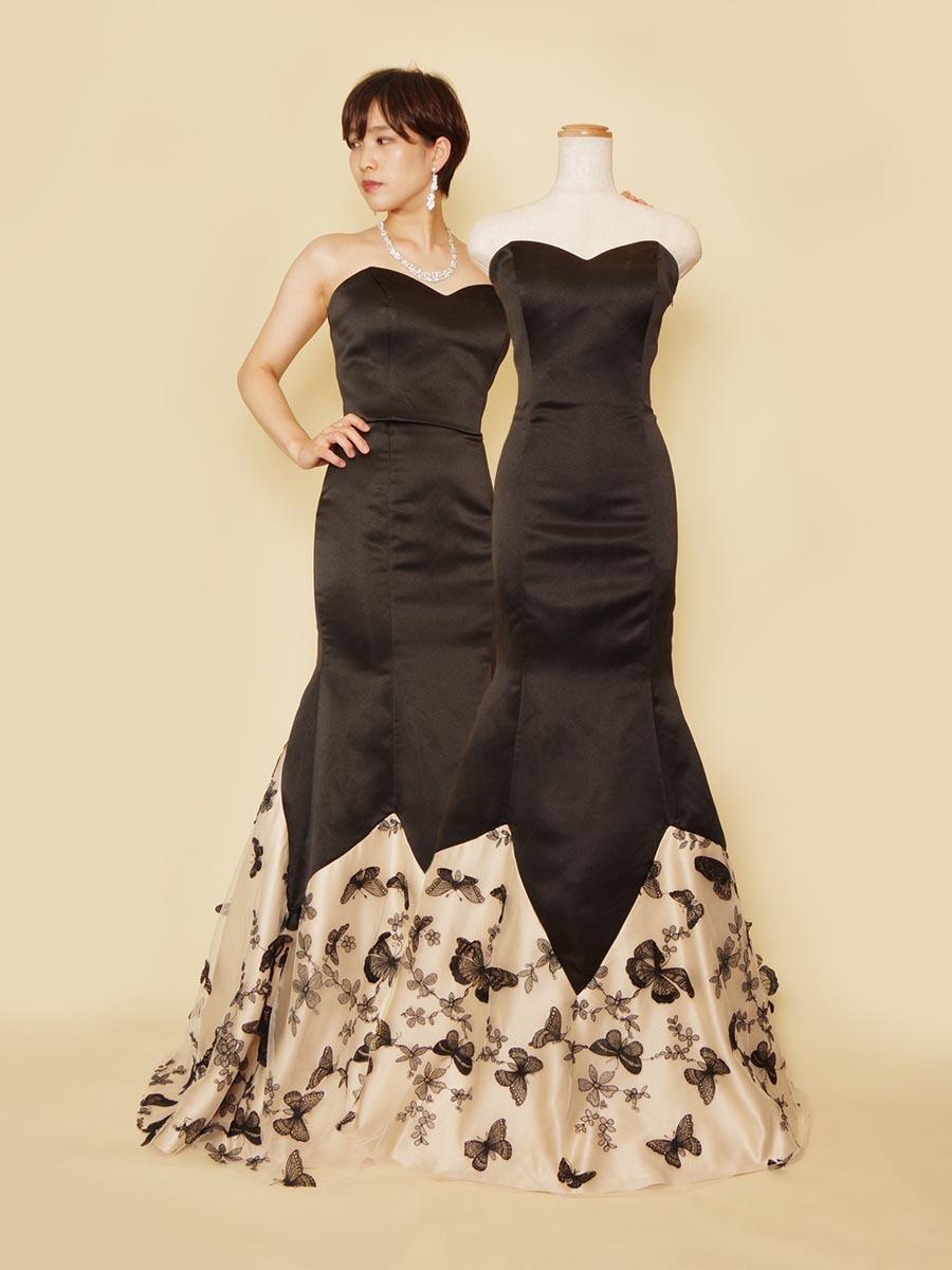 大人可愛いブラック×ベージュのバタフライ刺繍を施したマーメイドラインドレス