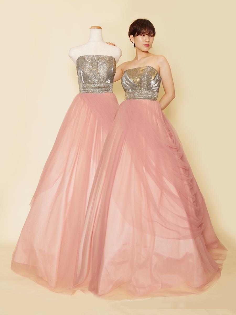 シルバーバスト×ふわふわピンクチュールのギャップが印象的なステージカラードレス