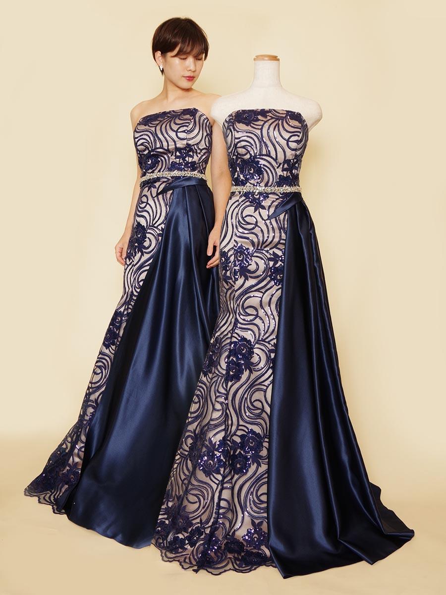 アシンメトリーシルエットが優雅な躍動感を演出するスパンコール×ネイビーサテンのマーメイドドレス