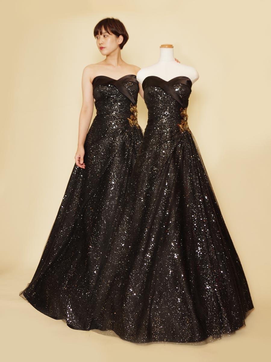ブラックグリッターにゴールドウエストモチーフで豪華な配色のチュールAラインドレス
