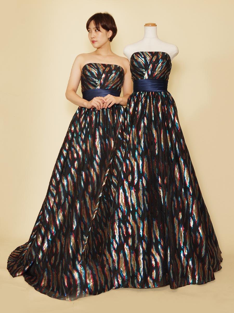 ネイビージョーゼット生地で煌びやか!大人でセクシーな輝きのゴージャス演奏会ドレス