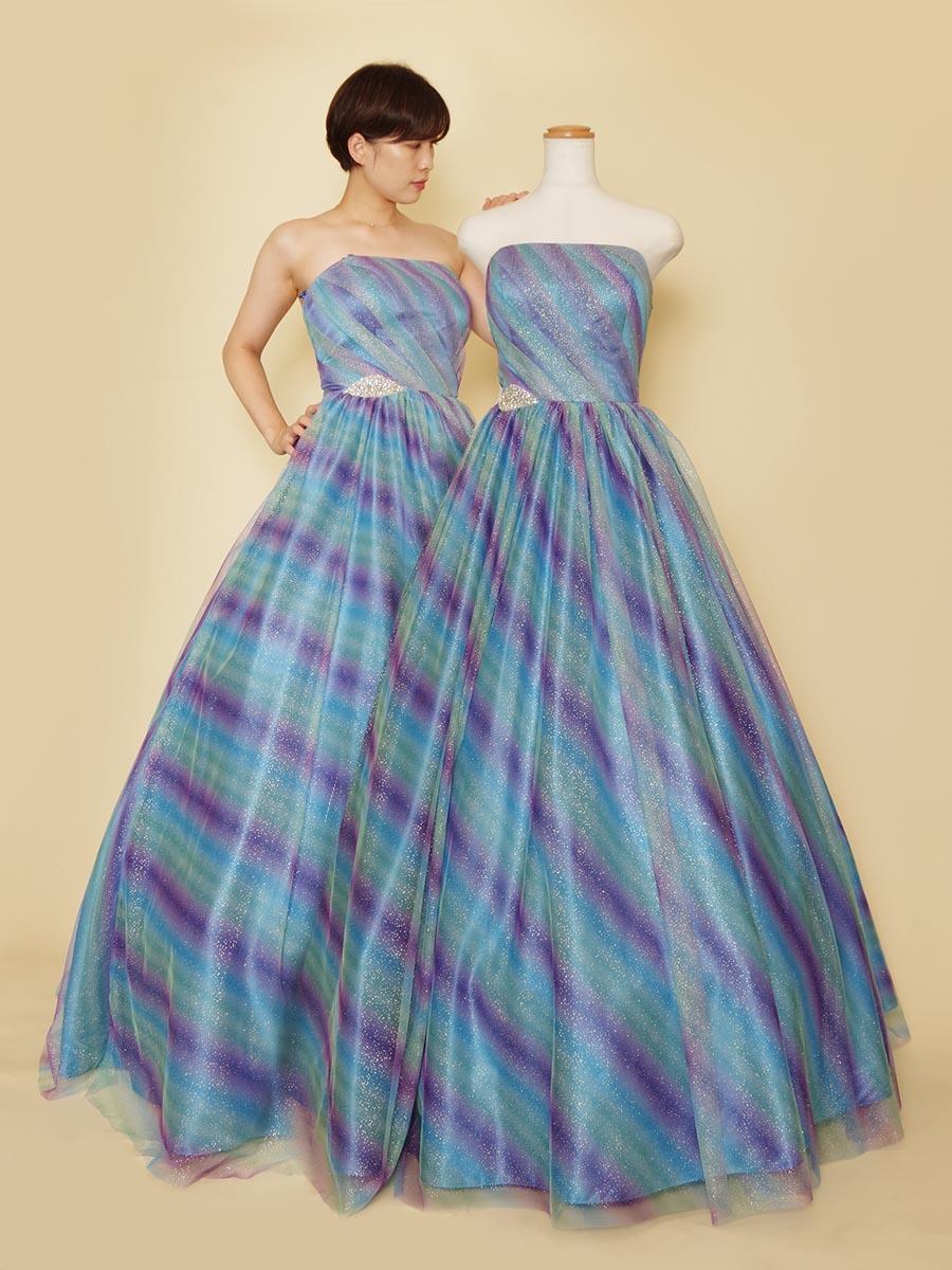 人魚姫のような美しさのブルーベースグラデーショングリッターボリュームドレス