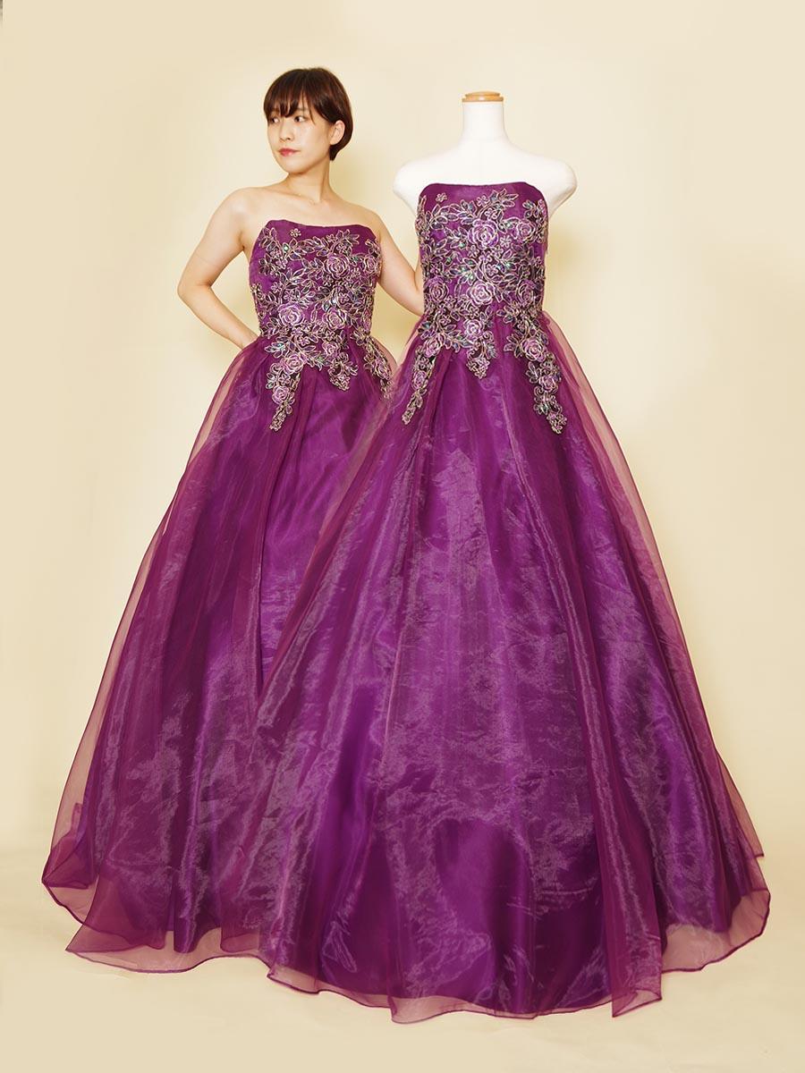 ディープパープルのオーガンジーが美しい大人でセクシーなクラシカルデザインステージドレス