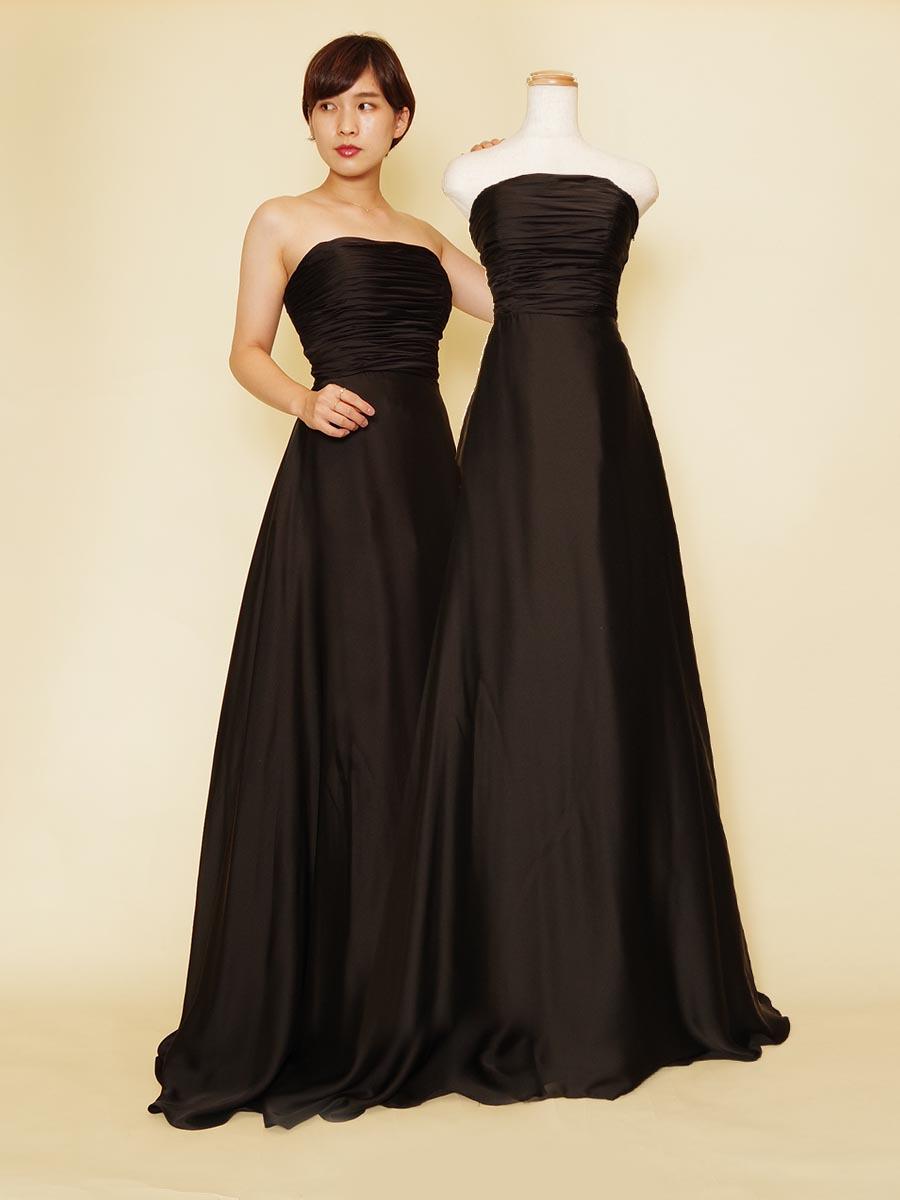 伴奏者向けお手頃価格の上品ギャザーブラックドレス