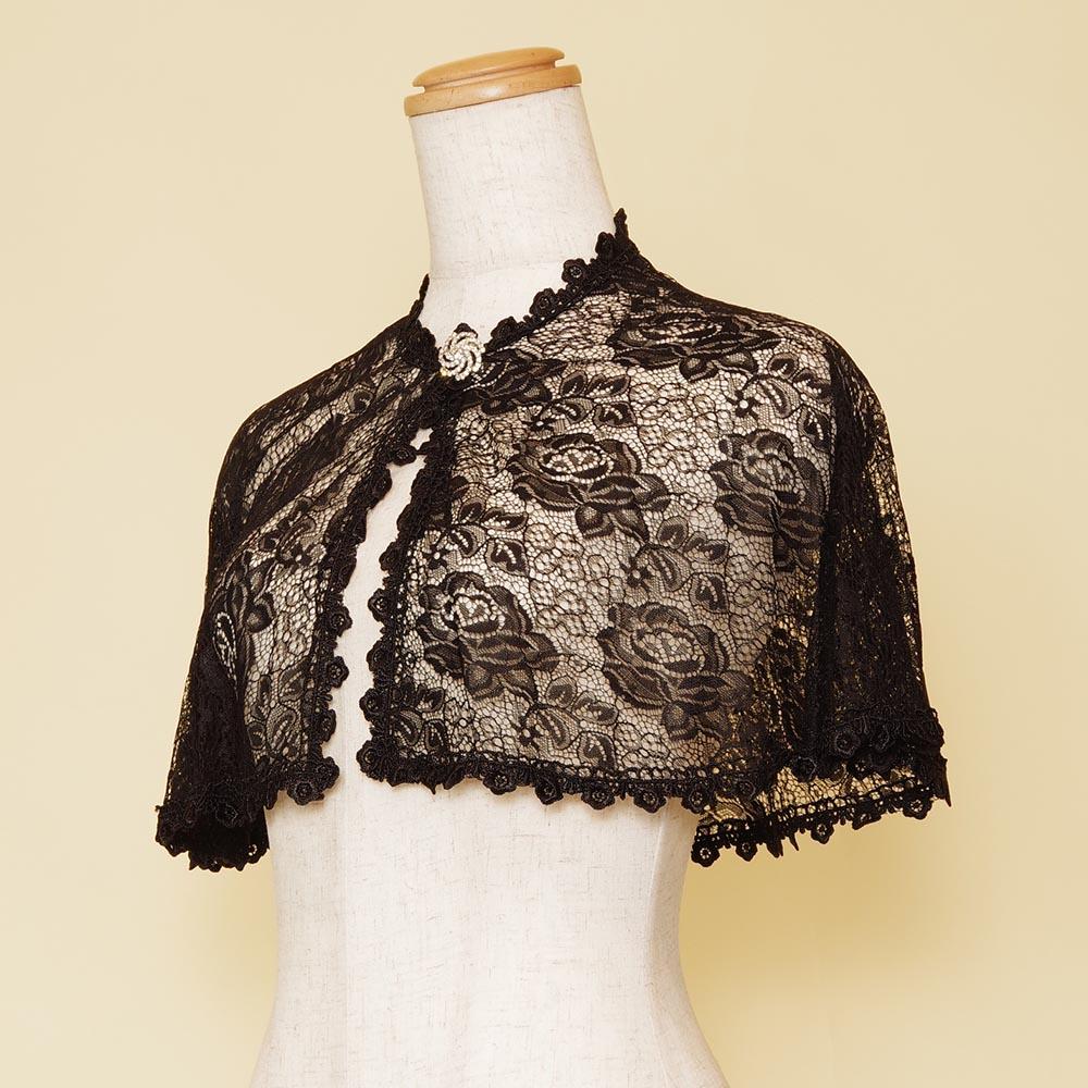 胸のブローチがゴージャスな羽織スタイルドレスボレロ