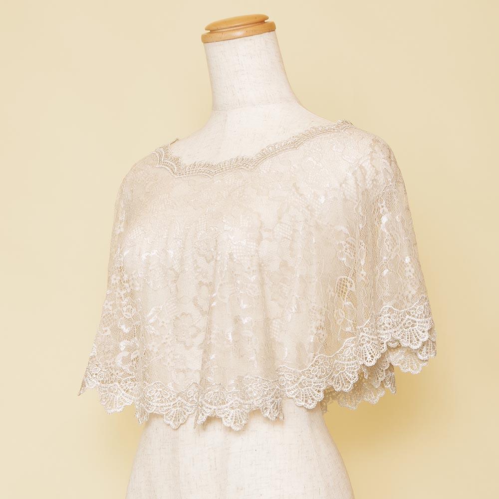 ウェディングシーンにもオススメなグレーホワイトポンチョのドレス用ボレロ