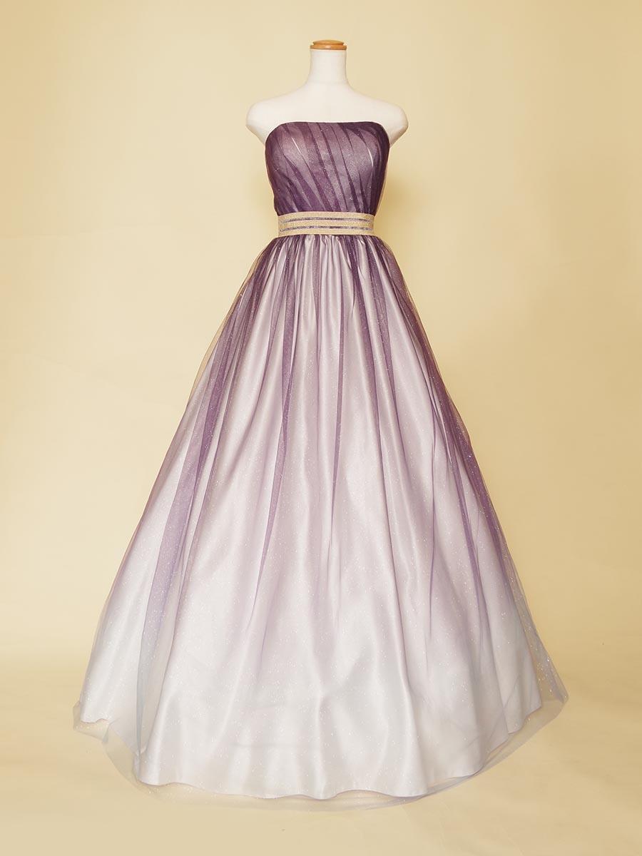紫色が色っぽさを演出するグラデーションの音大生の方にオススメなステージロングドレス