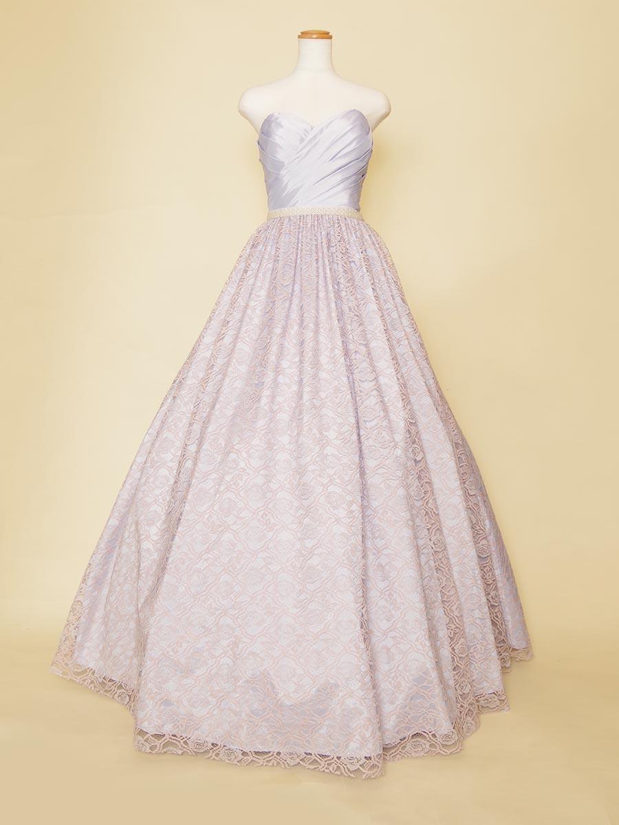 ライトパープル×ライトピンクの総レーススカートのボリュームロングドレス