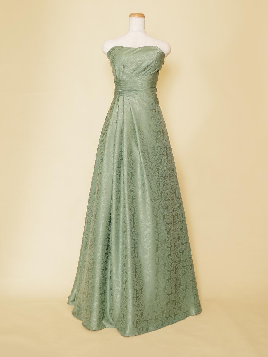 コバルトグリーンがクールな色っぽさを醸し出す薔薇柄ロングドレス
