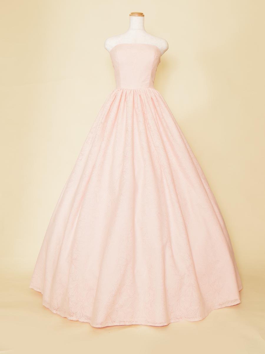 パステルピンクが上品な総柄演奏会用ボリュームロングドレス