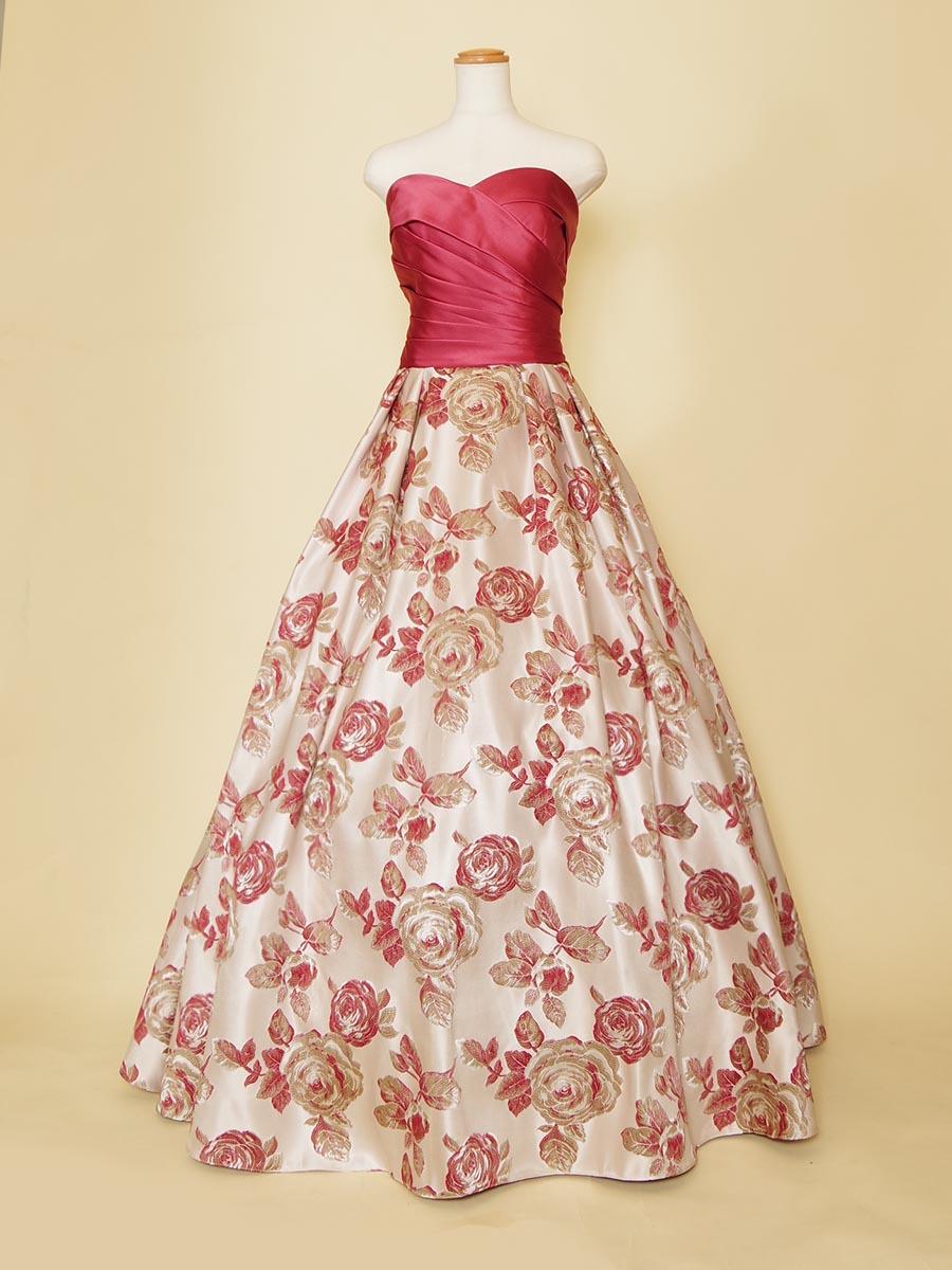 バラ柄ジャガードスカートのローズピンクローウエストドレス